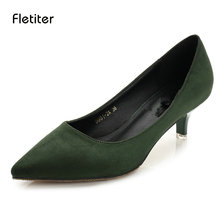 Buy Fletiter New Med Heel Pumps Shoes Spring Summer Classic Thin Heels Pointed Toe Women New 2018 Office Work Pumps Shoes 5 CM Heel for $22.60 in AliExpress store