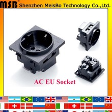 E-08 Black round embedded industrial outlet European standard German standard 250V 16A universal AC power socket
