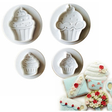 Cake Plunger 1 set 6/5/4/3cm cake cupcake ice cream plastic cookie cutter mould cake decorating mold lace FONDANT tools E701(China)