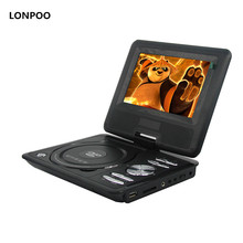 LONPOO DVD Player 7 Inch Swivel Portable DVD Player DIVX USB RCA SD Portable TV Portatil With Battery Earphone Game DVD Player