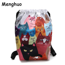 Menghuo Designer 6 Patterns Cat Printing Women Classic Mochila Drawstring Bags Travel backpack School Bag Leisure Bagpack Brand(China)