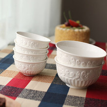 free shipping white bowls 5pcs/set rice bowls European export reliefs The baroque ceramic S/L(China)
