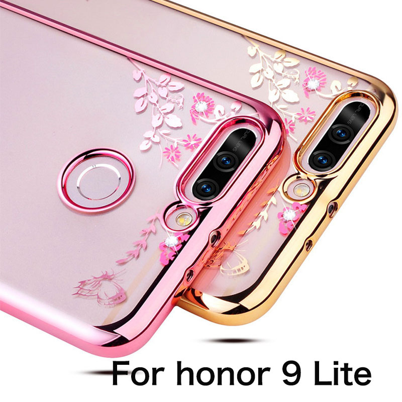 Honor 9 Lite Cover Bling Diamond Clear Case Huawei Honor 9 Lite Soft Plating Bumper Tpu Honor 9 Lite Silicone Coque
