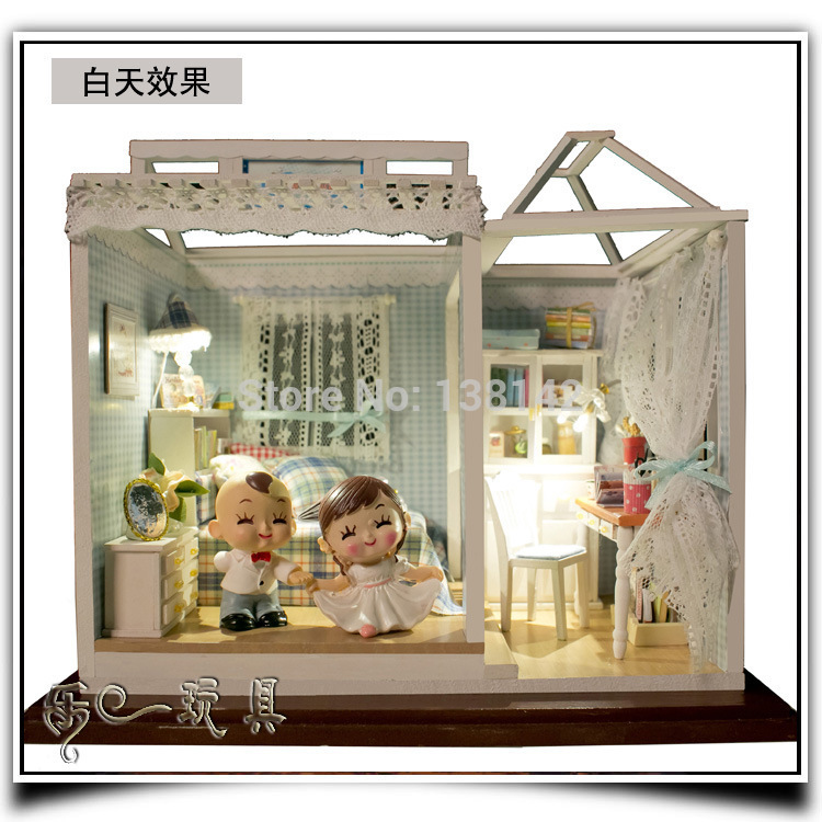 PH003 Large dollhouse Miniatures With Doll / dust cover / voice LED light diy wood doll house bedroom free shipping<br><br>Aliexpress