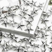 100 x Silver Star Studs Spikes Metal 15mm Leathercraft DIY Spots Nailhead Rock Punk Clothes Apparel Garment Sewing Decoration(China)