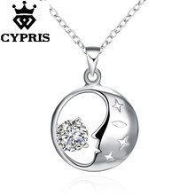Hot  promotion  Fashion Nice  Silver Necklace18 inch Free Shipping Wholesale pendant charm gift wedding lover god moon stone