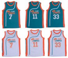 Retro Basketball Jersey Semi Pro Flint Tropical Jackie Moon Throwback Jerseys Stitched Jersey Man White Green #33 #7 #11 Movie