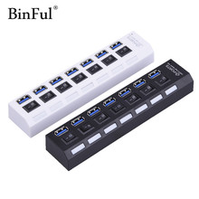 BinFul USB 3.0 Hub 7 Ports 5Gbps High Speed Hub usb Portable USB Hub With On/Off Switch USB Splitter Adapter Cable For PC Laptop(China)