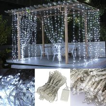 Factory price 3*3 M 300 LED Curtain Light String New year Icicle Lights Xmas Wedding Party Decoration christmas curtain lights(China)