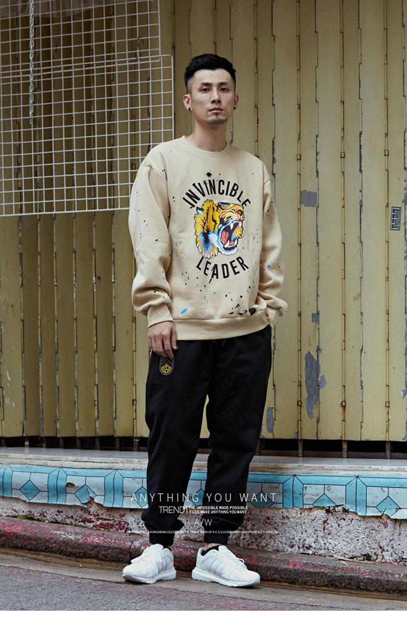 Aolamegs Male Sweatshirt Tiger Inked Print Sweatshirts O-Neck Pullover Streetwear High Street Hip hop Fashion New Autumn Winter (8)