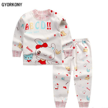 2018 Kids Thermal Underwear Solid Thick Cotton Children's Warm Suit Clothes Baby Boys Girls Long Johns Pajamas Sets A-BN1009-1P(China)