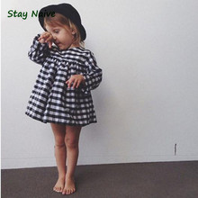Kids 2017 new winter classic black and white plaid dress tutu baby girl(China)