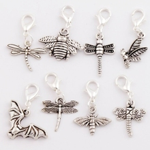 Dragonfly Bee Insect Clasp European Lobster Trigger Clip On Charm Beads CM19 8pcs mixed Antique silver
