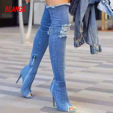 BEANGO Hot Women Denim Thigh High Boots Sexy Cut Out Spring Summer Long Jean Boots Over Knee Peep Toe Gladiator Thin Heel Bota