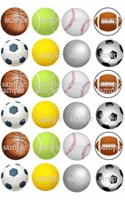 24 FOOTBALL BASKETBALL GOLF TENNIS BASEBALL Edible cake topper wafer rice paper Cupcake topper Birthday party decoration supply(China)