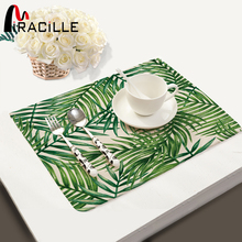 Miracille Tropical Plant Leaves Print Placemat Cotton Linen Table Mat Dishware Coasters for Dinner Accessories Cup Wine Mat(China)