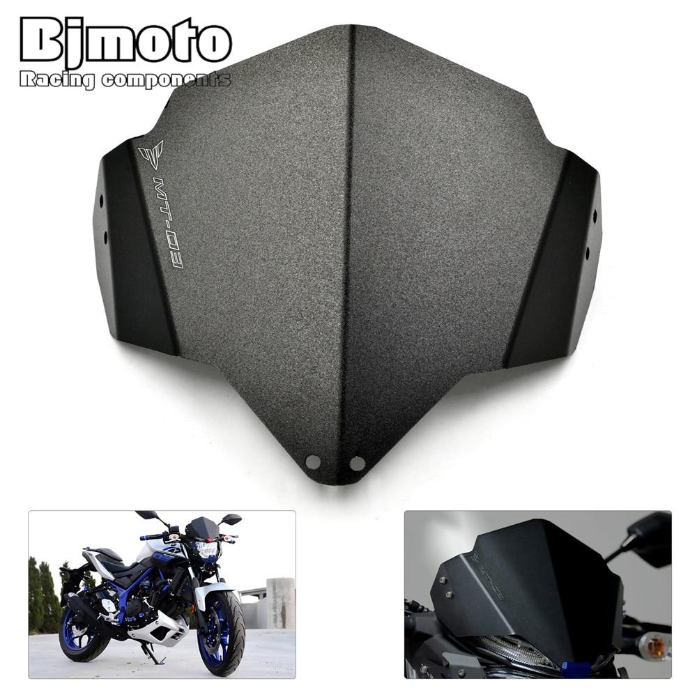 Bjmoto Motorcycle Motorbike Black Aluminum Windshield Windscreen For Yamaha MT03 MT-03 2015 2016 2017 Motocross<br>