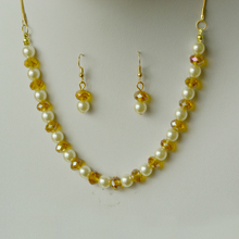 Fashion golden yellow crystal pearl jewelry set Popular girl's party accessories Brand clothing popular jewelry Party charm pend(China)