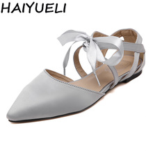 HAIYUELI Women Satin Casual Shoes Flat Heels D'orsay Flats Bow Butterfly Knot Oxfords Woman Lace Up Cut Out Ballerinas Sandals
