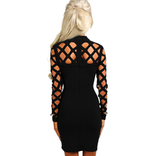 2017 New Winter Women Black Red Bodycon Bandage Dress Long Sleeve Hollow Out Club America Factory Sexy Birthday Party dresses(China)