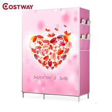 COSTWAY Bedroom Print Non-woven Wardrobes Cloth Storage Saving Space Locker Closet Sundries Dustproof Storage Cabinet W0119(China)