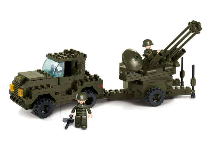 Sluban Military Series Heavy Transport Truck Army Antiaircraft Artillery Assembled Building Blocks Bricks Compatible With Legoe<br><br>Aliexpress