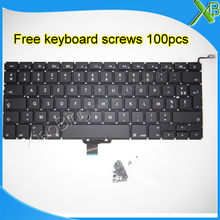 "Brand New AZERTY FR French keyboard+100pcs keyboard screws For MacBook Pro 13.3"" A1278 2008-2012 Years(China)"