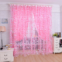 Wholesale 2015 New Pink/Orange/Purple Bed Room Living Room Floral Print Voile Window Curtain Sheer Voile Panel Drapes Curtain
