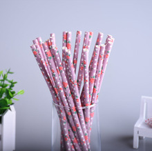 25pcs/lot Purple Vintage Retro Floral Paper Straws Biodegradable Drinking Straws For Wedding Birthday Party drinking Prom Straws(China)