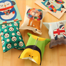 Hot Cute Cartoon Creative Fabric Tissue Box Living Room Family Car Pumping Paper Napkin Box Sets Restaurant Decoration V3212(China)