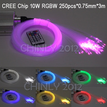 CREE chip 10W RGBW twinkle 28Key RF Remote LED fibre optique star sky ceiling Lights Kit 250pcs 0.75mm 3M optical fiber