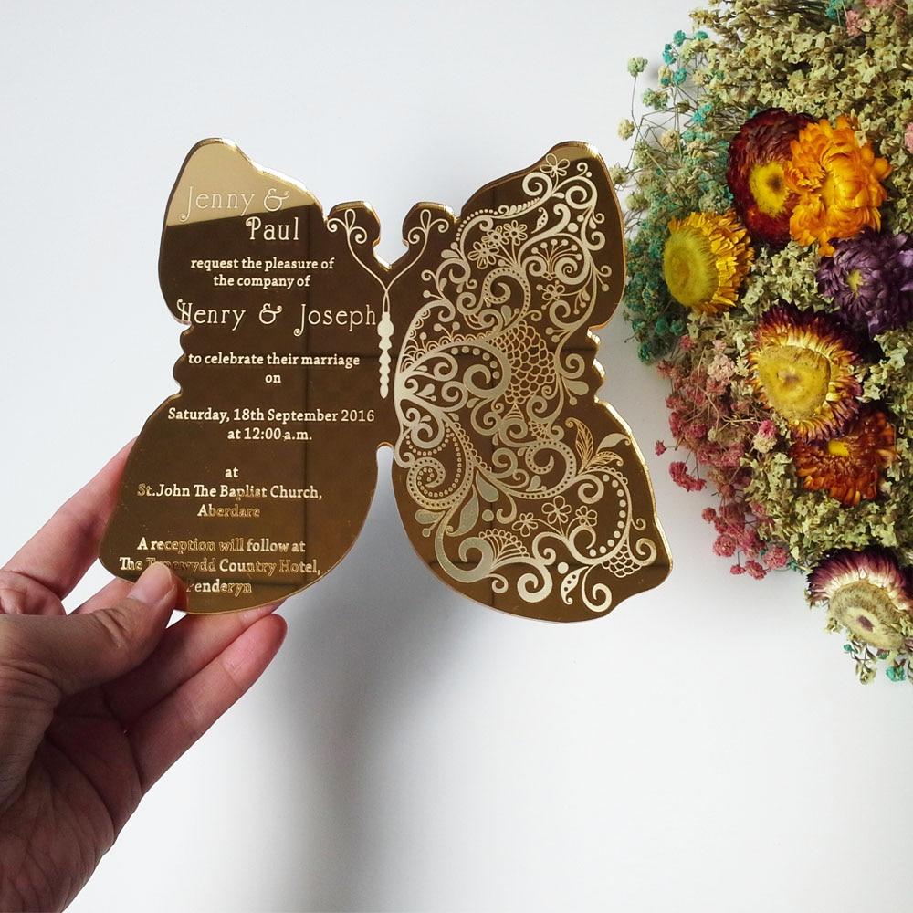 Customized sample for 5*7inch golden mirror acrylic wedding invitation card<br><br>Aliexpress