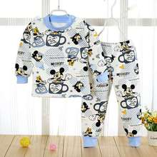 Baby Boys Girls Autumn Winter Mickey Minnie Warm Clothing Set Toddler Kids Child Printed Dot Pussy Cat Pajamas Clothes Suit 1-4Y(China)