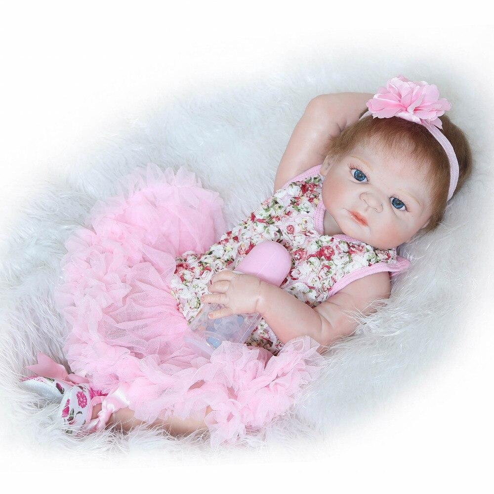 55cm Full body silicone reborn baby doll toys lifelike newborn girl babies child brithday gift girls brinquedos bathe shower Toy<br><br>Aliexpress
