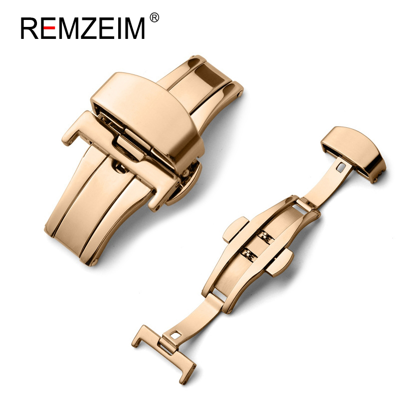Butterfly Deployment Buckle Automatic Double Click Stainless Steel Strap Button For Watch Band 16mm 20mm 22mm 24mm Gift Tool