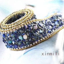 New custom design!crystal rhinestone banding,2pcs/lot,fancy decorative chain,gemstone colorful trimming,garment accessories
