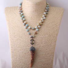 Fishion Blue Green Frosted Amazonite Stones Rosary Chain Halsband Ox Horn Pendant Necklace(China)