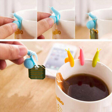 5Pcs Tea Bag Holder Cute Snail Shaped Silicone Cup Mug Hanging Tool Gift Set Random Color coffee cup holder