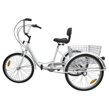 "(Shipping From US) White 3-Wheel Adult 24"" Tricycle Bike Bicycle Trike Cruise 6-Speed W/ Basket(China)"