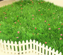 Wholesale 25cm*25cm Artificial long grass with flowers green plastic plants home garden decoration(China)