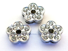free shipping  10pcs 8mm full rhinestone Flower Slide Charms Can Fit Pet Dog Cat Tag Collar Wristband/Bracelet