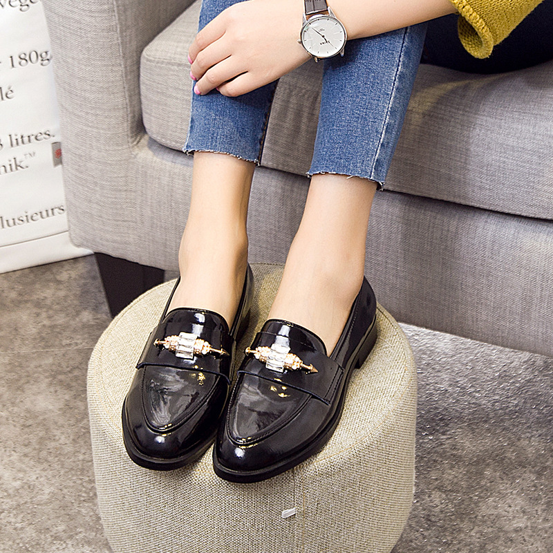 Ms. Fang With Shallow Mouth Round Korean Shoes Thick Black Mirror Artificial Pu Women Oxford Shoes For Women<br><br>Aliexpress