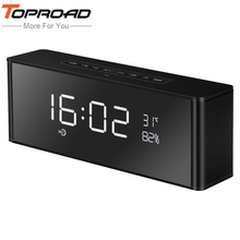 TOPROAD HIFI Portable Wireless Bluetooth Speaker Stereo Speakers Soundbar TF FM Alarm Clock Subwoofer Column for Computer Phones