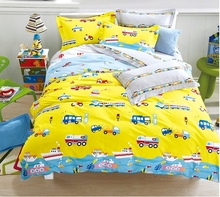 Yellow Cars Airplanes Motorcycle Train Vehicles Truck Submarine Hot Air Balloon Kids Boys Girls Bedding Bed Sheet Set 100%Cotton