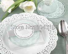 Free shipping Wedding favours Lace Exquisite Frosted Glass Coasters birthday party favor and giveaways 100pcs/lot(China)