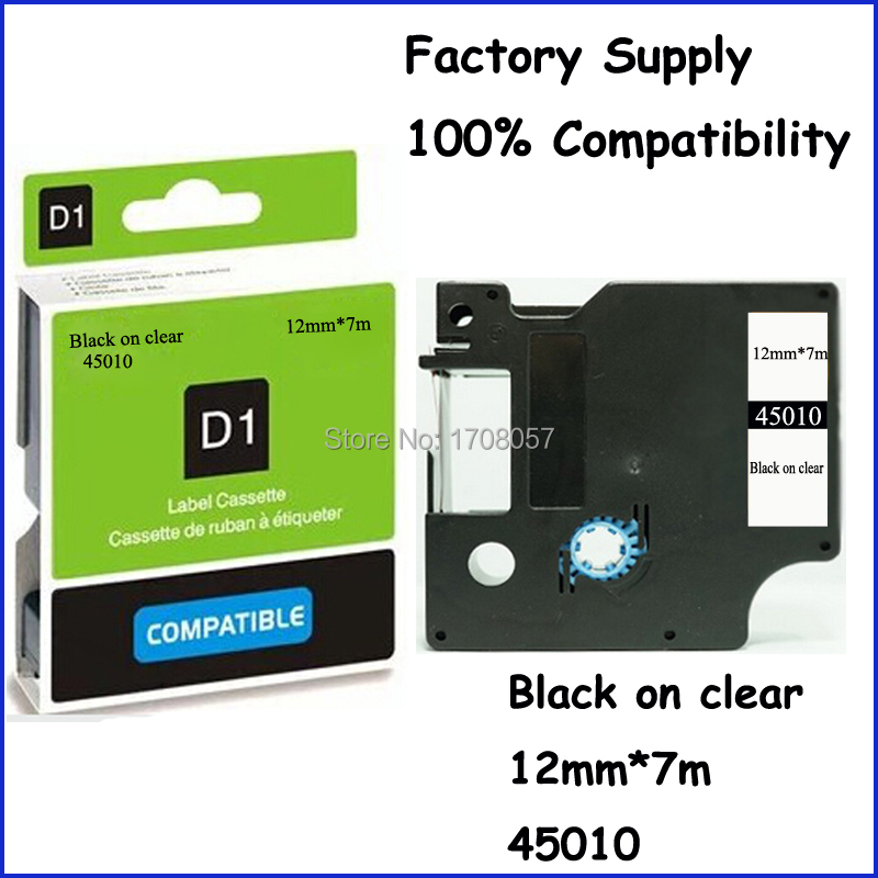 12mm*7m Factory Supply Black on Clear Adhesive Compatible Dymo D1 12mm Label Tape 45010(Freeshipping)<br><br>Aliexpress