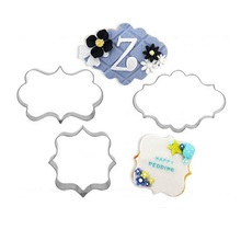 Stainless Steel Blessing Wedding Plaque Frame Fondant Cookie Cutter Biscuit Sugarcraft Kitchen Mould Baking Pastry Tool A011