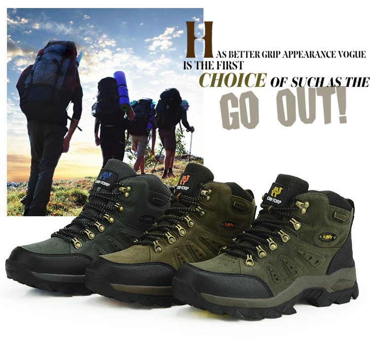 Waterproof Hiking Boots High Top  Rubber Unisex Color - Brown