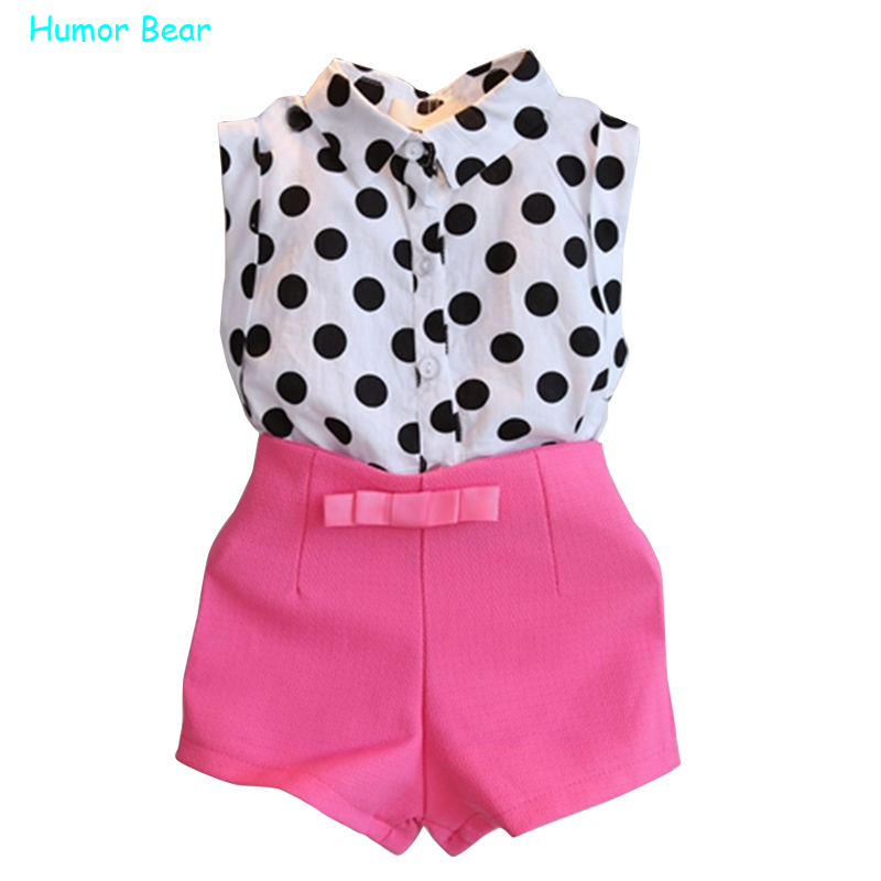 Humor Bear summer style girls clothes polk dot tops+pink pants 2pcs sweet bow baby girls clothing set  kids clothes<br><br>Aliexpress