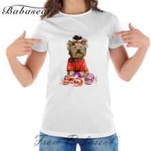 Babaseal Little Yorkshire Terrier Dog Cat Picture Designer T Shirts Women 2017 Summer Tops Japanese Anime Wonder T-shirt(China)
